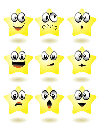 vector illustration for a set computer icon of emotion star, expression Illustration