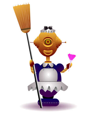 robot vector: vector illustration for a robot maid going to clean.