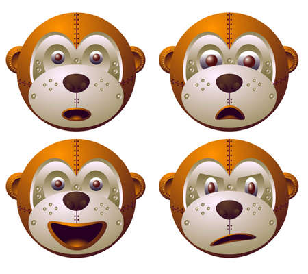 vector illustration for a robot monkey with emotion and expression