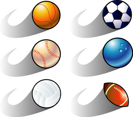 vector illustration for a variety of balls icon in movement