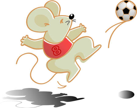 vector illustration for a mouse as a soccer player Illustration