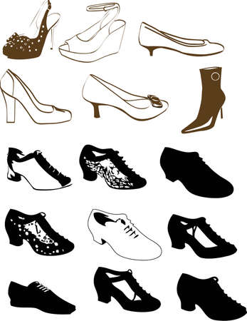 vector illustration for a variety of shoes in style. Vector