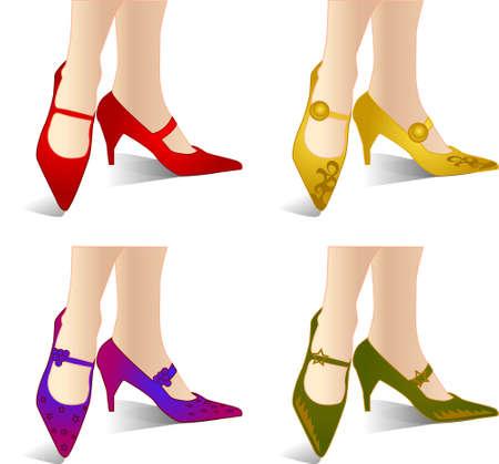 ilustración vectorial para una variedad de zapatos de diseño con estilo y una sexy dama de la pierna.
