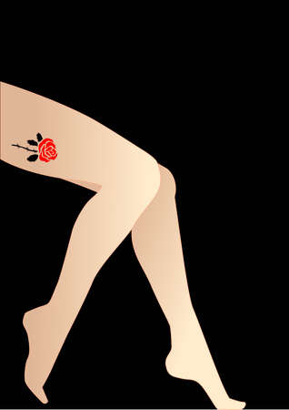 woman legs: vector illustration for a wild rose tattoo on a sexy leg