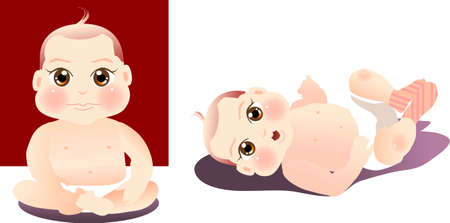 vector illustration for a baby boy sitting, put up his leg Vector