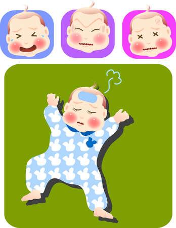 fiebre: ilustraci�n vectorial para un conjunto de expresi�n de ni�o enfermo