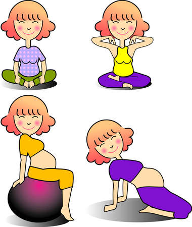 vector illustration for a variety exercise during pregnancy. Illustration