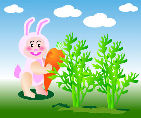 vector illustration for a  rabbit eating carrot Vector