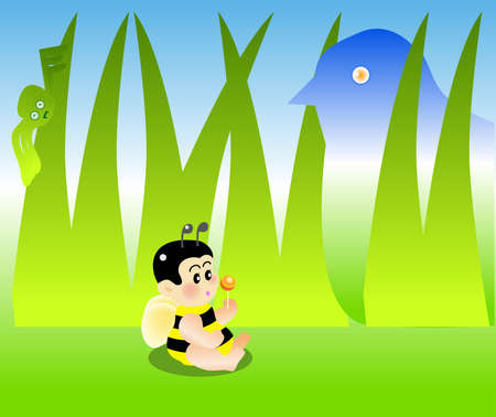 vector illustration for a  bee eating a sweet and behind are danger waiting for him. Stock Vector - 2562255