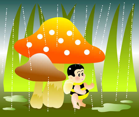 vector illustration for a  bee hide under a mushroom for raining day Vector