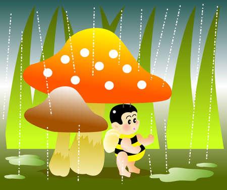 vector illustration for a  bee hide under a mushroom for raining day Vector