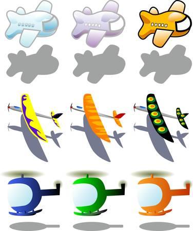avion caricatura: Ilustraci�n vectorial para una variedad de veh�culos en el cielo  Vectores