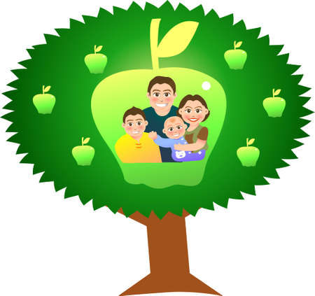 vector illustration for a relationship for family with apple tree background Vector