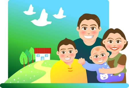 sweet home: Ilustraci�n vectorial para una relaci�n de una familia con un fondo dulce hogar