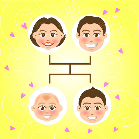 fatherhood: vector illustration for a relationship for a family tree, father, mother and sons Illustration