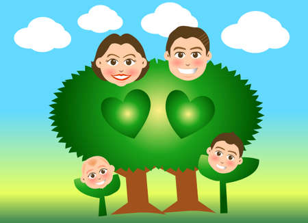 fatherhood: vector illustration for a relationship for family just like a tree and sprout