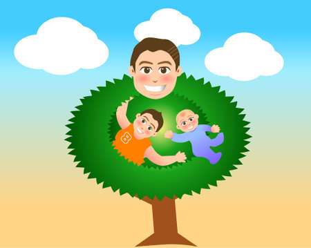 happy family nature: vector illustration for a relationship for father and son in tree shape