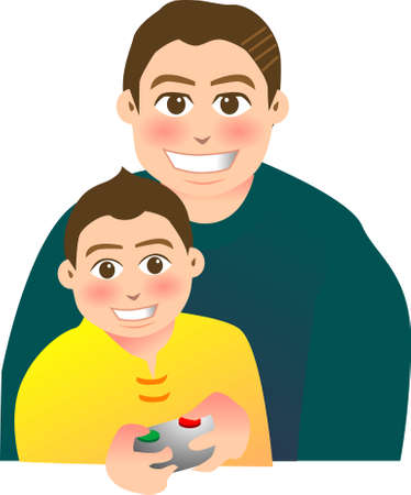 playing video game: vector illustration for a relationship for father and son, playing video game