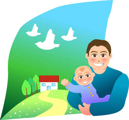 vector illustration for a relationship for father and son with a sweet home background Vector