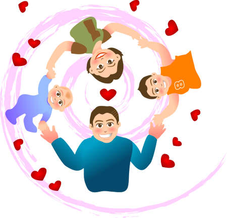 kid cartoon: vector illustration for a relationship for a  with a swirl background