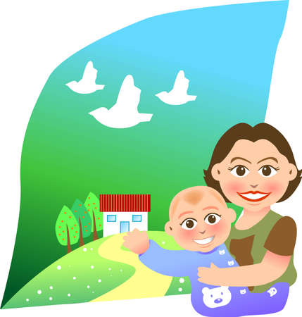 mother holding baby: vector illustration for a relationship for mother and son with a sweet home background