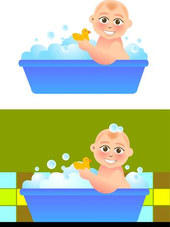 vector illustration for a baby taking a bath in bathroom. Çizim