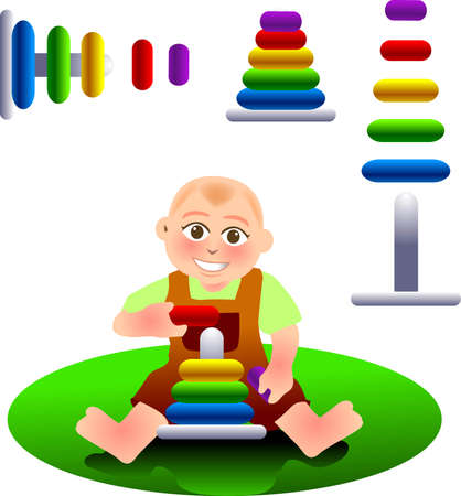 vector illustration for a  playing a toy, stacking blocks Vector
