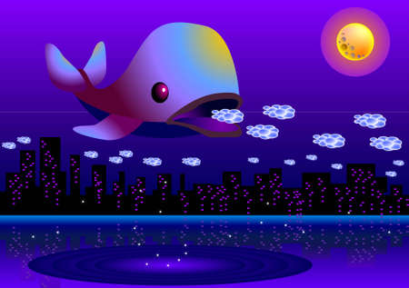 vector illustration for a whale eating peoples dreams in a full moon night. Vector