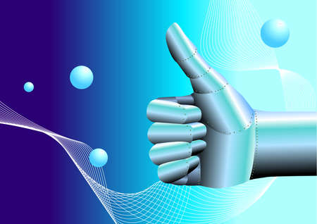 automaton: vector illustration for a robot hand thumb up with high technology background