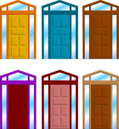 homes: a vector illustration for a group of door frame
