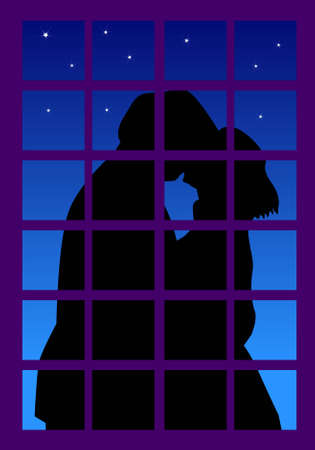 couple embrace: a vector illustration for a couple kissing outside the window in a beautiful night.