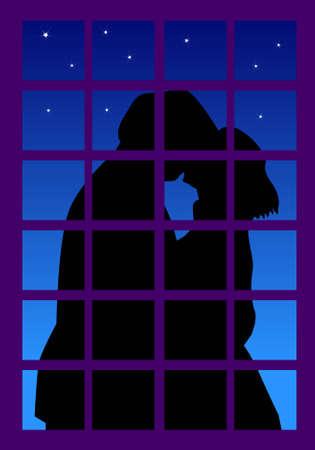 innamorati che si baciano: una illustrazione vettoriale per un paio di baciare al di fuori della finestra, in una bella notte.