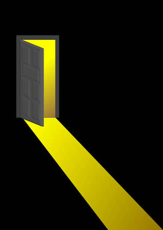 opportunity concept: a vector illustration for a open door and golden light from it. Metaphors Illustration
