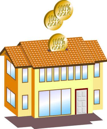 household money: a vector illustration for a house shape money box. Illustration