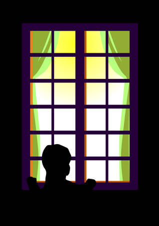 oversee: a vector illustration for a little boy peep through the window.