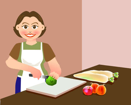 A lovely mother is chopping vegetables, preparing food for cooking Illustration