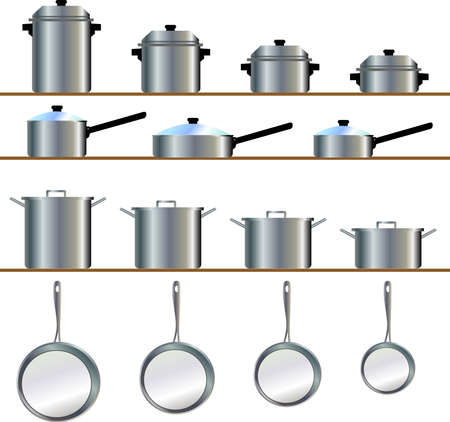 A variety size of cookware for pot, frying pan, stew, skillet, saucepans Stock Vector - 2689346