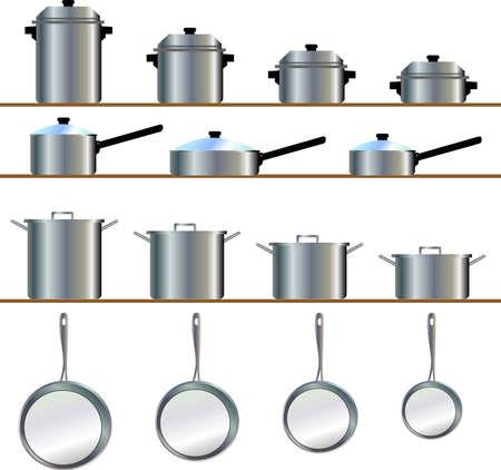 utensilios de cocina: Un tama�o de la variedad del cookware para el pote, cacerola que fr�e, guisado, skillet, cazos
