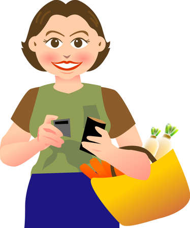 woman credit card: a vector illustration for a variety sign for room service Illustration