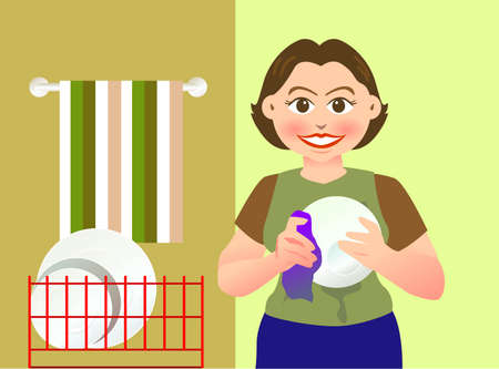 chores: Een mooie moeder is het reinigen van een kom Stock Illustratie