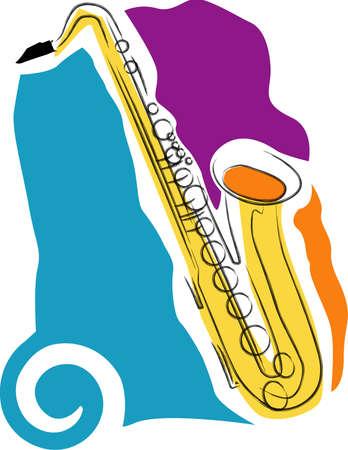 a vector, illustration icon design for a saxophone