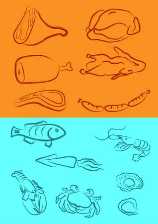 a vector illustration for a variety of meats in artistic outline Vector