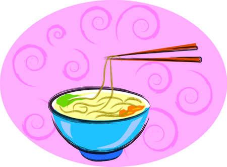 noodles: a vector illustration for a bowl of noodles. Illustration