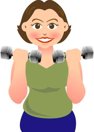 haciendo ejercicio: una mujer est� haciendo ejercicio con la pesa.