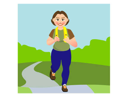 a woman is jogging in a garden or park,  Illustration