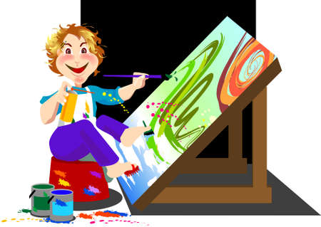 nimble: a madness artist is using his hands and feet to painting, speedy to finish his artwork.