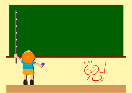 a clever boy use a long stick and six chalk roped together and write sentences on chalkboard Vector