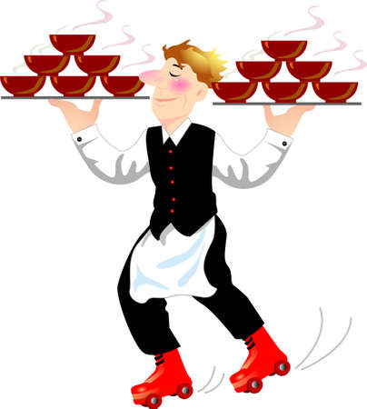 a super waiter holding two group of bowl and wearing the rolling shoes. Vector