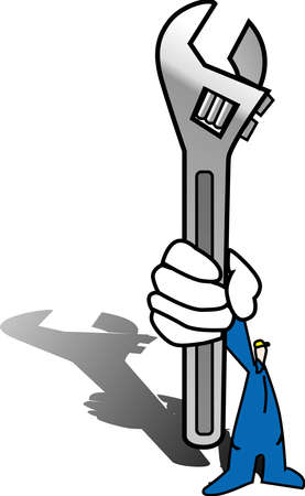 a illustration for a worker holding a wrenches Illustration