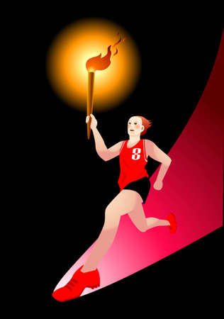 viewing angle: vector illustration for a torchbearer running in low angle viewing. Metaphor for a new and big step in history Illustration